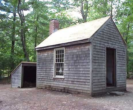 Thoreau's one-roomed cabin at Walden pond. The walls are shingled with cedar, with a small woodshed. Minimalists have more free time