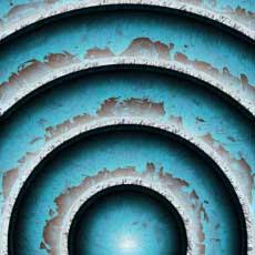 Old Blue Paint on diminishing metal circles.