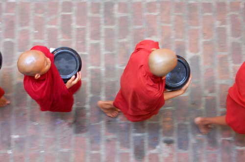 Monks with shaved heads and red robes, holding empty plates - walking in a row as seen from above