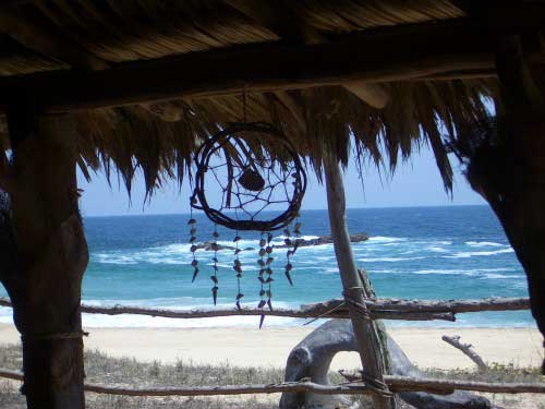 A dreamcatcher hangs from a thatch roof with the beach in the background reminding us to be lucid living in this waking dream