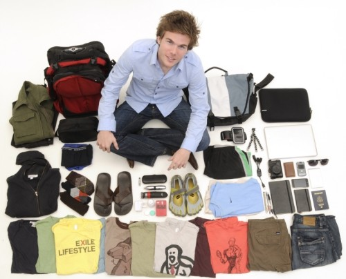 Colin Wright from Exile Lifestyle sits crosslegged, surrounded by the 55 items he travels the world with.