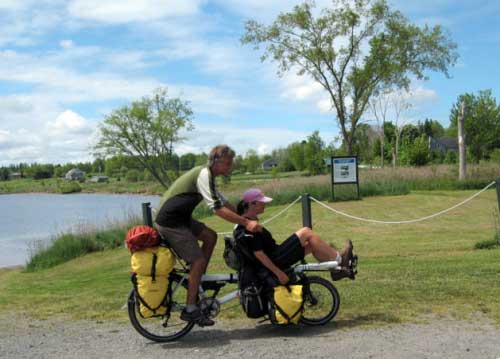 Our tandem bike loaded with enough camping gear for the whole spring & summer