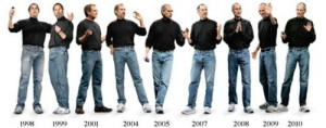 12 years of Steve Jobs wearing the identical casual work uniform of jeans, sneakers and a black turtleneck.