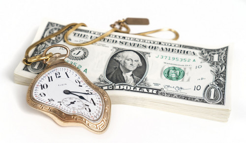 Money bends time, depicted by a melting gold pocket watch atop a stack of US dollars.