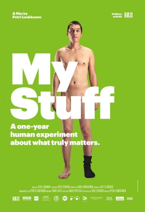 "A nude man stands against a green background with the words, ""My Stuff"" covering his genitals."